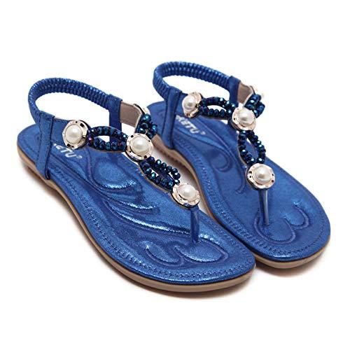 YAOkxin Frauen Flache Sandalen, Sommer Outdoor Schuhe Strass Shell Dekoration Größe Casual Flip Flops, geeignet für zu Hause, Strand, Alltag, Urlaub,Blue,37