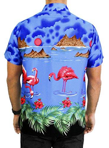 LA LEELA Strand Hawaiihemd Herren XS - 5XL Kurzarm Front-Tasche Hawaii-Print Casual Button Down Hemd Königsblau Königsblau