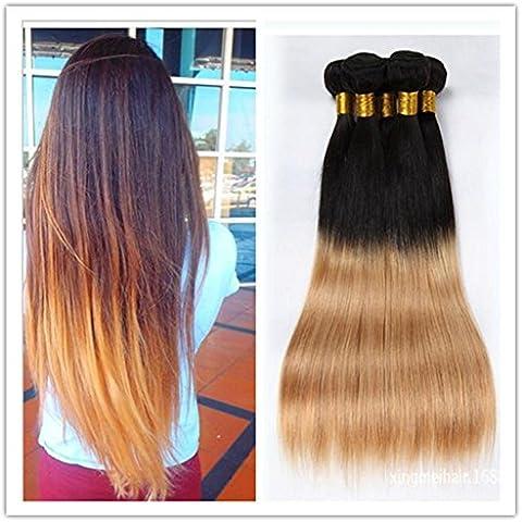 XQXHair 3Pcs / Lot 12 100% non trattati indiani Virgin estensioni dei capelli tessuto Bundles Ombre Due tonalità di colore T1B / 27 Silky sraight umani tesse capelli-24 , 22 24 26 - Calore Trattato Capo