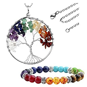 JOVIVI Schmuck,Damen Herren Reiki-Energietherapie 7 Stein Chakra Armband + Baum des Lebens Anhänger Lebensbaum Halskette