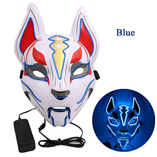Kostüm Halloween'licorne' - HHSJL Halloween Leuchtende Maske Fox Drift Maske Kopfbedeckung LED Leuchten Masken für Party Cosplay Halloween Karneval Nacht Kostüm Requisiten,H