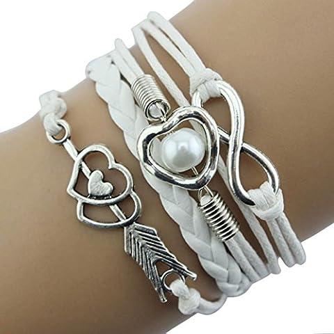 Toraway El infinito amor del corazón de la perla de la amistad piedra retro cuero mandril perla pulsera de múltiples capas del encanto (Blanco)