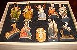 Schöne Figuren für große Holz Weihnachtskrippe Zubehör, XXL Holzimitat wie ECHTHOLZ KFG-Box im Holzfiguren-Stil handbemalt und GEBEIZT