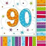 NET TOYS 16 Geburtstagsservietten Papier Servietten 90. Geburtstag Tischservietten Papierservietten zur Tischdeko