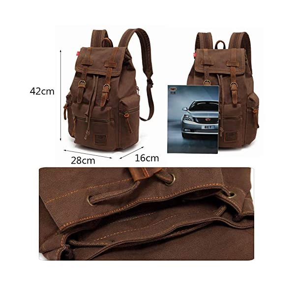5163RXJNZbL. SS600  - Vintage Mochila de Lona de Marcha Bolsa Escolar Uní Mochilas Sport para Hombres Mujer Casual Marrón Oscuro
