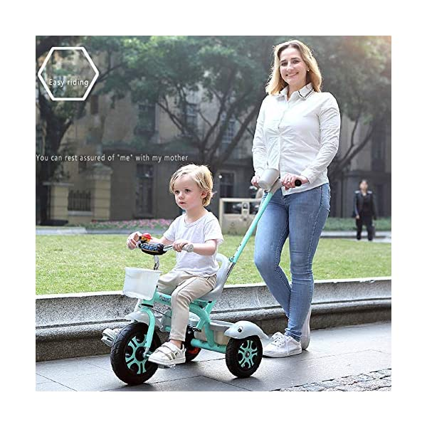 GSDZSY - Kids Tricycle Trike 2 In1, With Removable Adjustable Push Handle Bar,EVA Soft Wheel,Seat Can Be Adjusted, Folding Footrest, 2-6 Years,D GSDZSY  3