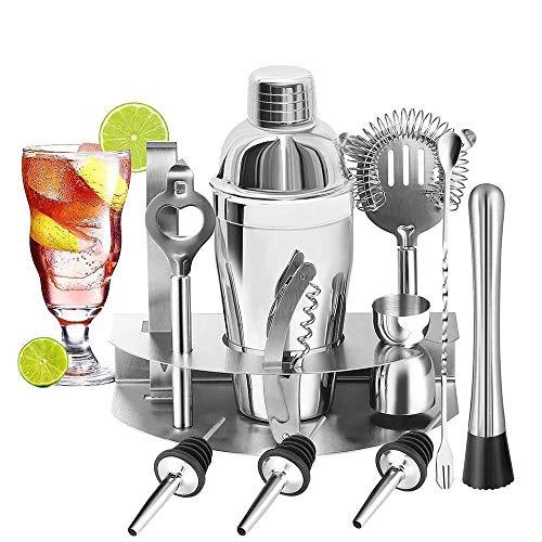 U-HOME Cocktailset, Edelstahl Cocktail Mixer Geschenk Set mit 550ml Cocktail Shaker Ideal für Zuhause oder die Bar: Cocktailshaker, Messbecher, Sieb, Eiszange, Barlöffel, Ausgießer, Barsieb und etc.