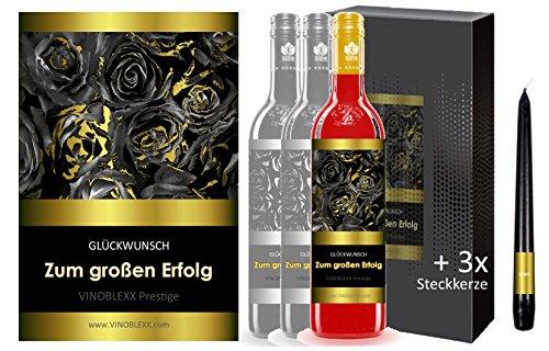 ZUM GROSSEN ERFOLG. 3er Geschenkset KLASSIK Perlwein (LADYLIKE spezielles Damengetränk). Ein Geschenk mit Stil & Prestige in Golddruck das jeden begeistert. Hochwertiger Qualitätswein. Verschiedene Etiketten-Designs, aktuell: Rosen