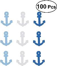 Vosarea 100pcs Wooden Anchor Charms Pendants for Jewelry Making Craft Nautical Decor Scrapbooking Embellishments 25x20mm (Random Color)