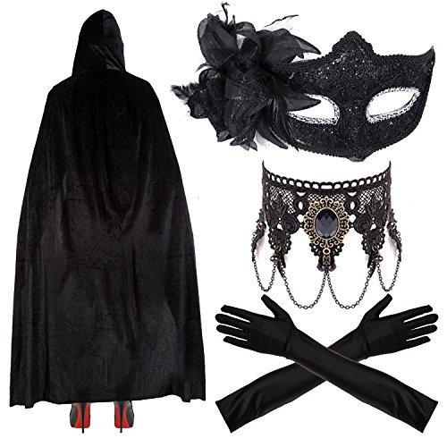 Robelli Damen / Mädchen Deluxe Masquerade Halloween Kostüm - Spitze Maske, Ellenbogen Handschuhe, Umhang & Halskette - ()