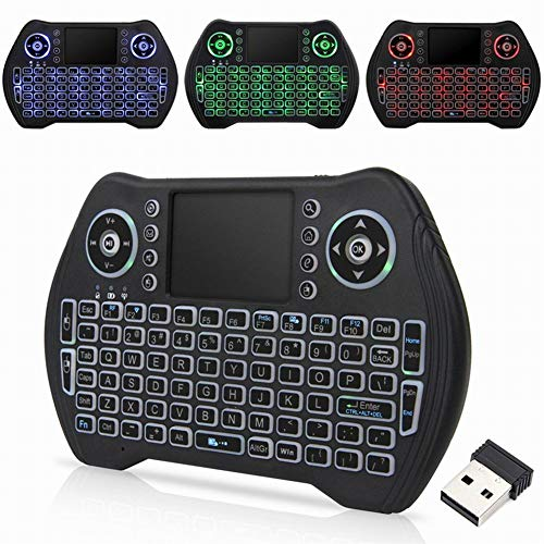 Alivier Mini Wireless Keyboard Touchpad Mouse Rechargeable Handheld Remote Control Backlit No-Backlit schwarz schwarz Backlight -