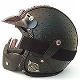 Offenes Gesicht Halb PU Leder Helm Moto Motorrad Helme Vintage Motorrad Kopfbedeckung Casque Casco Für Harley Helm Pineapple leather5 XXL