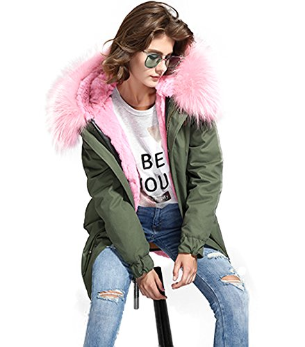 PARKA XXL Kragen aus 100% ECHTPELZ ECHTFELL Jacke Mantel Khaki 8 Farben Rosa Pelz
