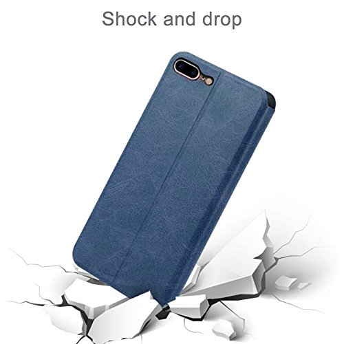 iPhone Case Cover MOFI VINTAGE pour iPhone 7 Plus Crazy Horse Texture Boîtier en cuir flip horizontal avec slot pour carte et support ( Color : Dark Blue ) Dark Blue