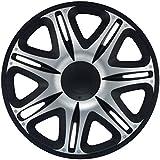 SIMONI RACING NAS/15SB Tapacubos Nascar Silver Black Universales, 15 Pulgadas