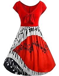 58d74a72b9d12a OYSOHE Kleid Damen, Frauen Plus Size Music Note Print aushöhlen Bandage  Kurzarm Abend Party Prom