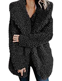 Lazzboy Womens Jacket Coat Long Sleeve Faux Fur Fluffy Fleece Notch Collar Warm-up Outerwear Cardigan