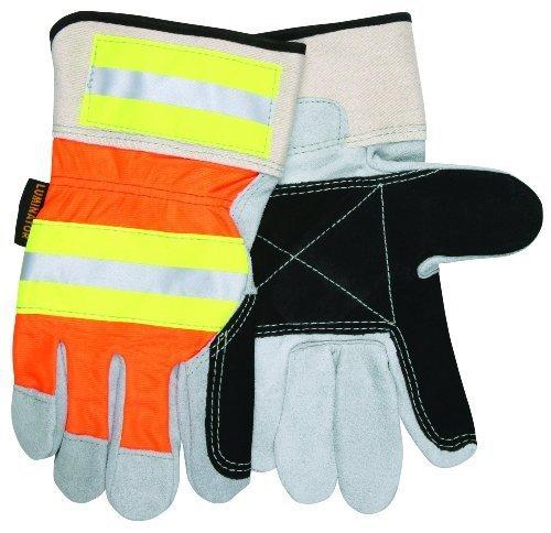 MCR Sicherheit 14401dpl Luminator Select Split Kuh Doppel Leder Palm Handschuhe mit gut sichtbares und gummierte Sicherheit Manschette, Natural Pearl/Schwarz, Groß, Skitasche von MCR Sicherheit (Doppel-manschette Leder Handschuhe)