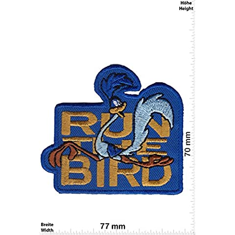 Patch - Run the Bird - Roadrunner - Coyote - Cartoon - Roadrunner- toppa - applicazione - Ricamato termo-adesivo - Patch