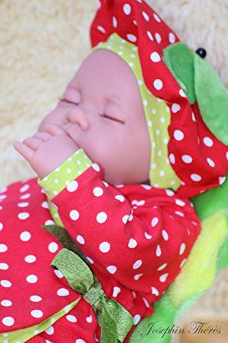 Baby Kostüm Set Halloween Fasching Karneval Kostüm Erdbeere Pucksack Body Wickeljacke Mütze rot Punkte (Erdbeere Kostüm Baby)