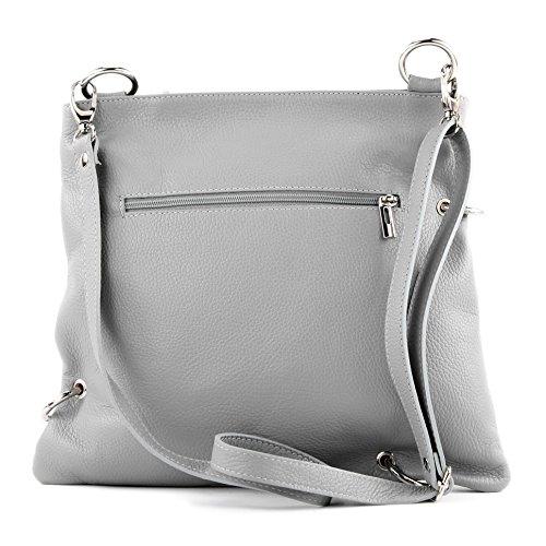 modamoda de -. cuoio ital Borsa da donna Messenger bag borsa a tracolla in pelle borsa NT07 2in1 Grau