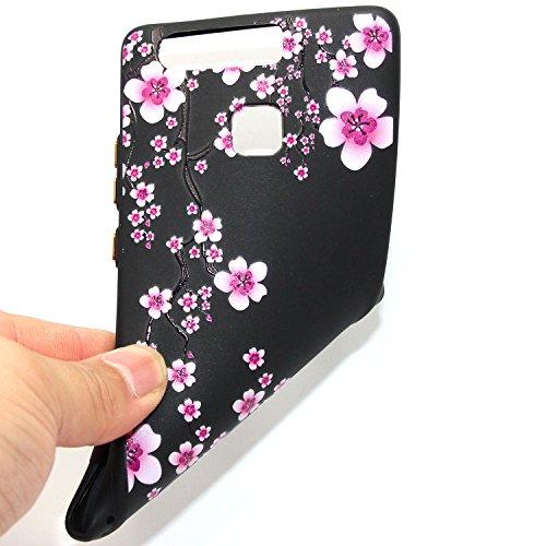 Huawei P9 Custodia, Huawei P9 Cover Nero, JAWSEU Huawei Ascend P9 Protezione Case Cassa Gomma Morbida Gel Silicone Custodia per Huawei Ascend P9 Cover Protectiva Bumper per Huawei P9 Coperture Flessib #11 Floreale