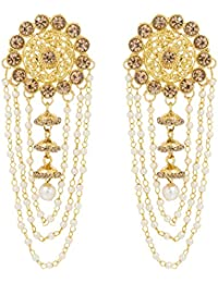 The Luxor Gold Plated Pearls Tassel Bahubali Jhumki Earrings For Women And Girls (ER-1773)