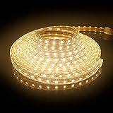 SPEED 3m LED Streifen Strip Aussen Lichterkette Warmweiß Außen/Innen 3000K 5050 SMD IP65 230V 43.2W 1800lm 60 LEDs/M mit Wasserdicht Stecker