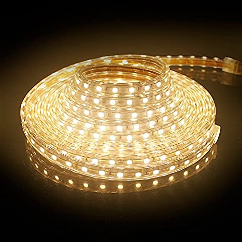 2M LED Streifen Strip SMD 5050 Lichterkette Warmweiß Flexibel Leiste IP65 Wasserdicht 120 LEDs Innen/Aussenbereich. Inkl. Befestigungsmaterial. Wasserdicht
