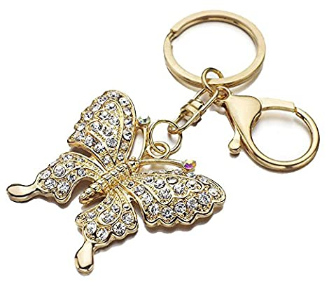 SaySure - Gold Plated Rhinestone Butterfly Key Chains