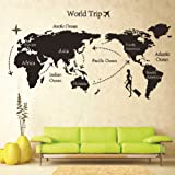 Removable DIY World Trip Map Art Wall Decor Sticker Decal Mural by Fancyqube