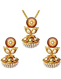Dancing Girl Bridal Dulhan White Metal Alloy Jewellery Sets With Necklace And Earrings For Women