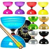 Juggle Dream Sundia Shining Series Diabolo à Triple palier + Bâtons à Main en Bois + Sac de Voyage! Axe d'embrayage à Triple roulement tournant Diablo pour intermédiaire et Experts! (Noir)