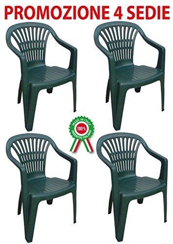 Sedie Di Plastica Da Esterno.4 Pz Poltrona Sedia Monoblocco Atlandite In Dura Resina Di