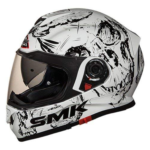 SMK GL120 Twister SKULL Graphics Pinlock Fitted Full Face Helmet With Clear Visor (Large)