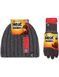 Heat Holders - Homme chaud hiver doublure polaire thermique bonnet / chapeau et gants ensemble en 4 couleurs