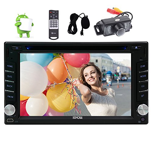 Eincar 6.2inch Double din Car Radio GPS Android 6.0 Stereos System with Quad-core 1.6GHz Touch Screen Car DVD Player Head Unit Support Wifi 4G/3G OBD2 1080P Bluetooth USB/SD Mirror Link External Microphone Backup Camera Gps Mit Europa Und Usa Karten