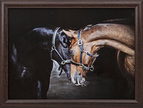 'Alte Freunde' Pferde Lap Tray/Tablett Braun Bohnensack