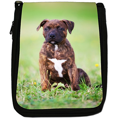 Staffordshire Bull Terrier Staffy personale Cane Medio Nero Borsa In Tela, taglia M Brown Staff Puppy Dog