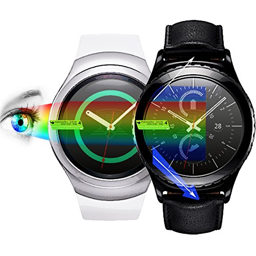 3 x PROTOMAX Displayschutzfolie für Samsung Galaxy Gear S2 / Gear S2 classic Schutzfolie, inkl. Blaulichtfilter PROEYE, Displayschutz Zubehör Smartwatch / Wearable / Fitnesstracker, Screen Protector, 3er Pack