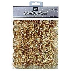 1 Packung mit 288 Stück RINGE METALL DEKO gold Tischdeko Hochzeit goldene