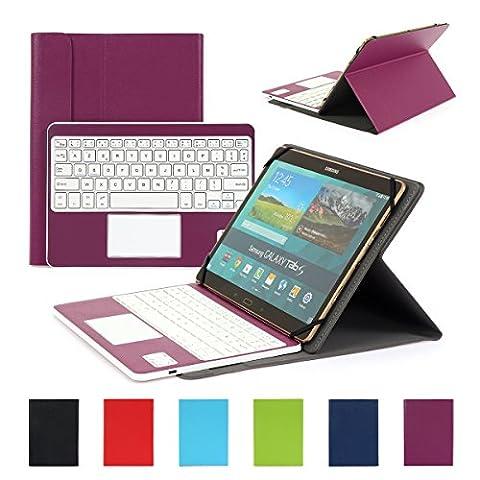 Clavier AZERTY Bluetooth 3.0 Étui Housse pour tout système Windows Android Tablette PC 9.0-10.6 pouces Touchpad