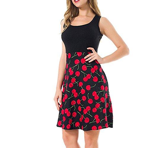Dame Kleid Rock Rundhals äRmellos Baumwolldruck Wave Point Retro Big Swing Puff Rock Kurzer Rock Baumwolle, Cherry Blossoms, m Ming Blossom