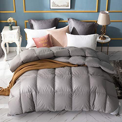WarmKiss Luxuriöses Bettdeckeneinlage, 100% graue Baumwolle, daunendicht, weiße Gänsedaunen, 650 Füllung, warm, hypoallergen Queen grau -