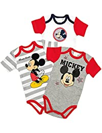 Lot de 3 bodys Garçon manches courtes Mickey - 100% coton
