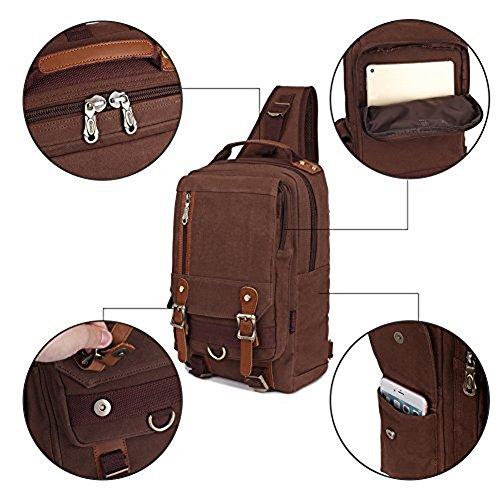 KAUKKO Stylische Tasche Retro Canvas Schultertaschen Sling Bag Outdoor Bauchtasche Reisetaschen Unisex Umhängetasche Handtasche Grau Kaffee