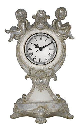 Hoch Silber & Weiß Engel Cherub Tisch Mantel Uhr Geschenk 29cm -