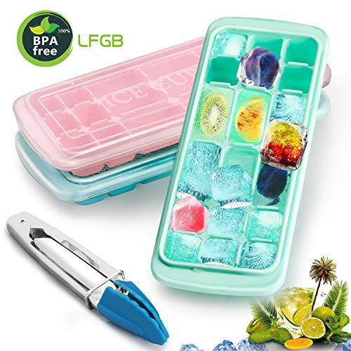 3 Stück Eiswürfelform, Barbro Silikon Eiswuerfel Form Eiswuerfelbehaelter Mit Deckel Ice Cube Tray,Ice Cube 18-Fach, Kühl Aufbewahren