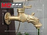Nostalgischer Wasserhahn als Löwenkopf mit Hebel für den Außenbereich Garten, Auslaufhahn, Antik