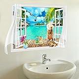 W&ZCH 3D Fake Window Wandaufkleber PVC Material Beach Scenery 3D Wand Poster Für Wohnzimmer WC Dekoration Wandaufkleber